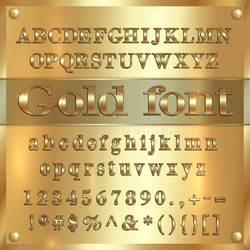 Vector las letras, los dígitos y la puntuación cubiertos oro del alfabeto en fondo de oro ilustración del vector