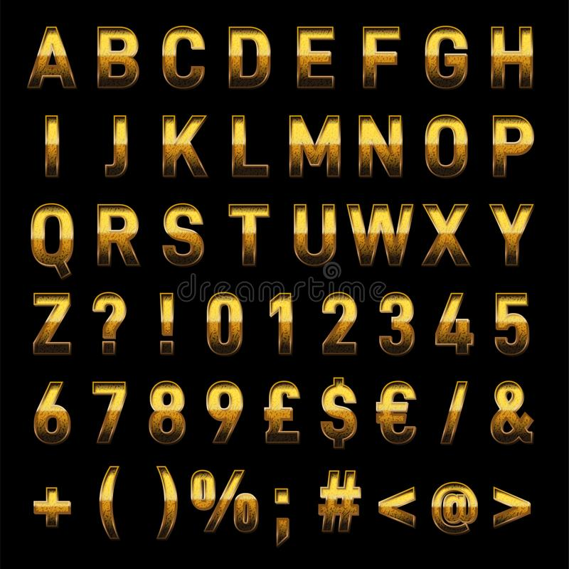 Vector las letras realistas del alfabeto 3D del oro y la transferencia directa inmediata de los números ilustración del vector