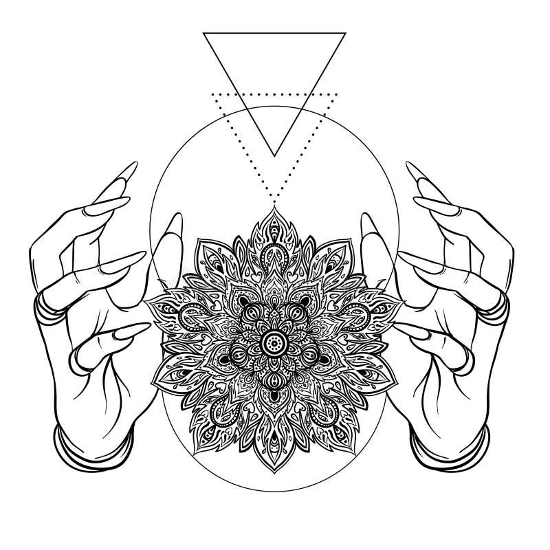 Vector las manos humanas con la flor de Lotus ornamental, arte étnico, palmadita stock de ilustración
