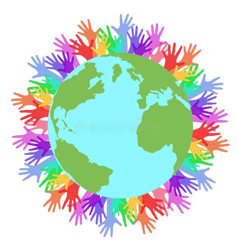 Vector las manos planas de la tierra y del arco iris del planeta del ejemplo stock de ilustración