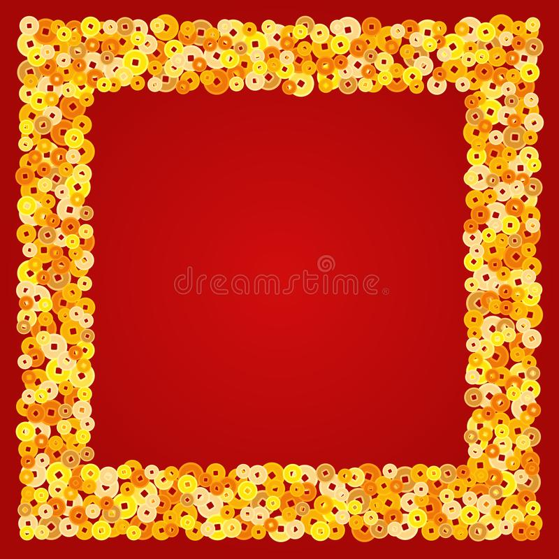 Vector las monedas chinas de oro del Año Nuevo que saludan el marco libre illustration