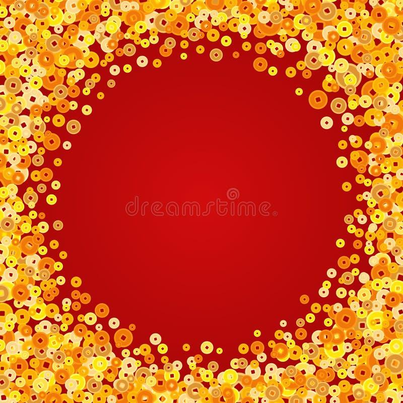 Vector las monedas chinas de oro del Año Nuevo que saludan el marco stock de ilustración