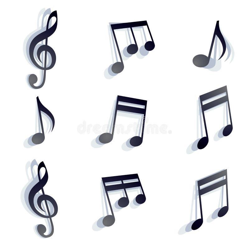 Vector las notas musicales negras y los símbolos monocromáticos aislados encendido libre illustration
