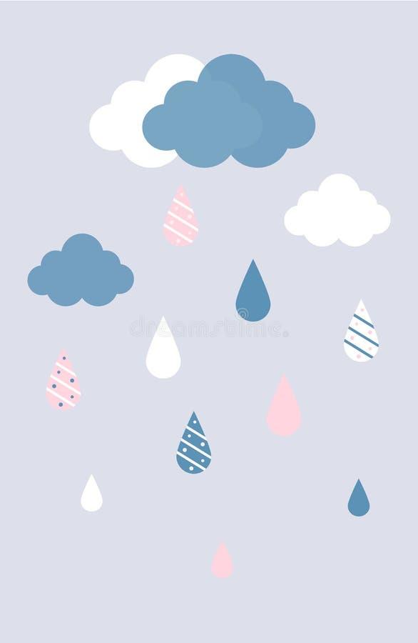 Vector las nubes completamente azules y blancas con gotas de lluvia en fondo gris imagenes de archivo