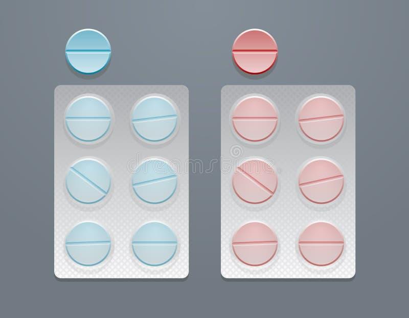 Vector las píldoras redondas azules y rojas en paquetes de ampolla ilustración del vector