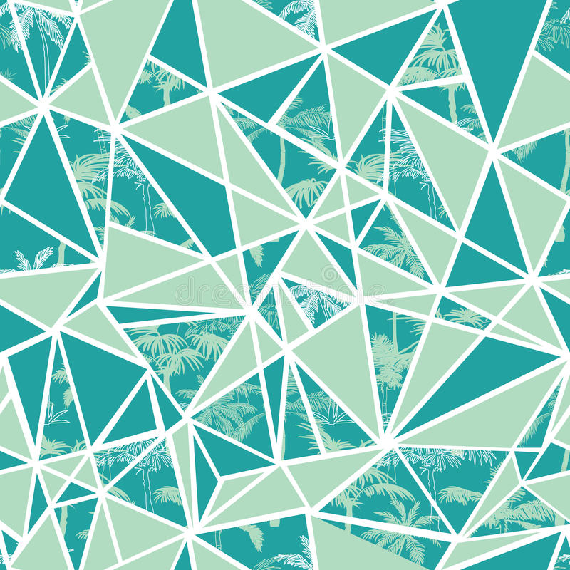 Vector las palmeras tropicales abstractas y el diseño inconsútil del modelo de la repetición de los triángulos Grande para la tel stock de ilustración