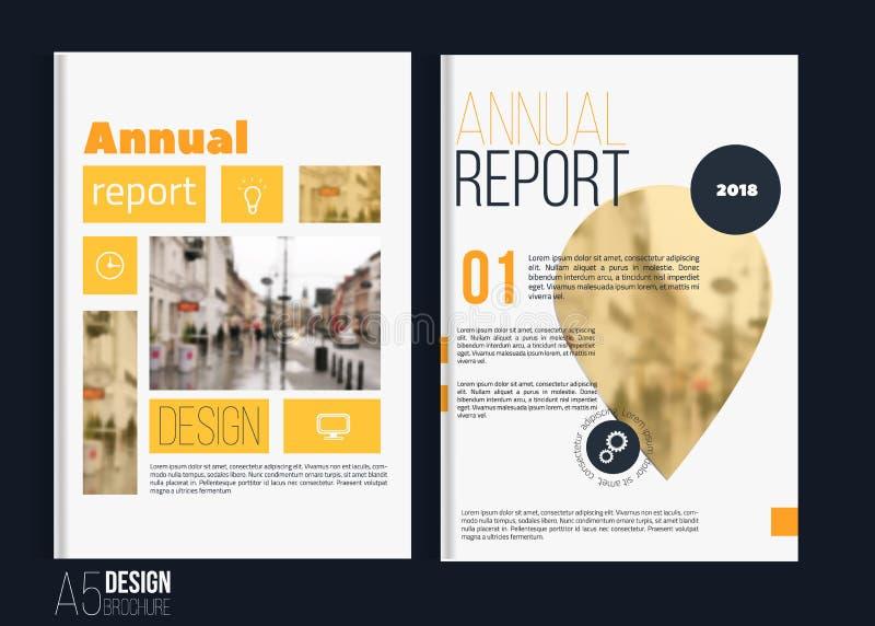 Vector las plantillas de la cubierta del folleto con paisaje blured de la ciudad Diseño de la cubierta de libro del negocio, cubi ilustración del vector