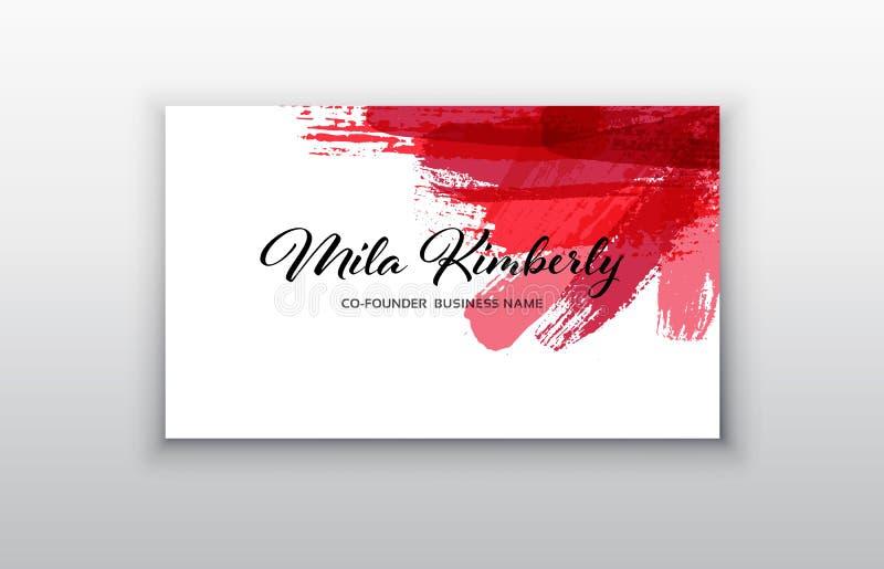 Vector las plantillas de la tarjeta de visita con el fondo rosado del movimiento del cepillo libre illustration