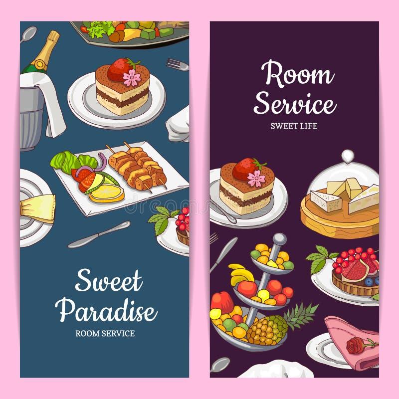 Vector las plantillas de la tarjeta o del aviador con los elementos dibujados mano del servicio del restaurante o de habitación y libre illustration