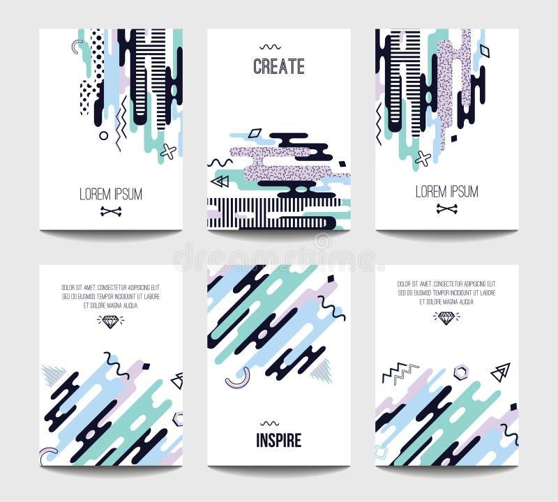 Vector las plantillas de moda del folleto con geometría plana caótica en el estilo de Memphis ilustración del vector