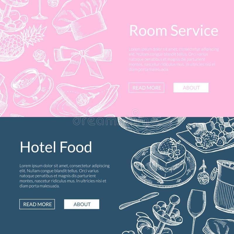 Vector las plantillas restaurante de la bandera del web o el servicio de habitación ilustración del vector