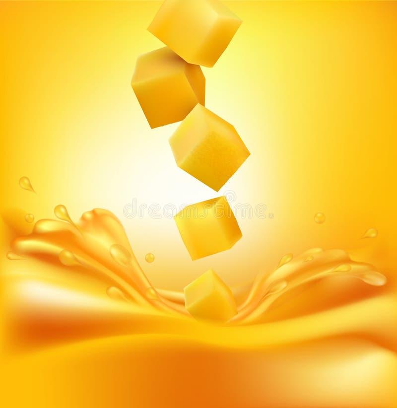 Vector las rebanadas jugosas del mango que caen en el jugo fresco ilustración del vector