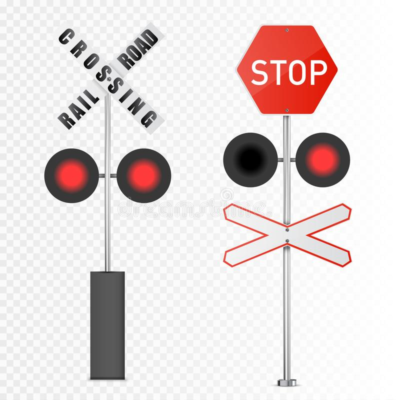 Vector las señales de peligro ferroviario detalladas aisladas en el fondo blanco libre illustration