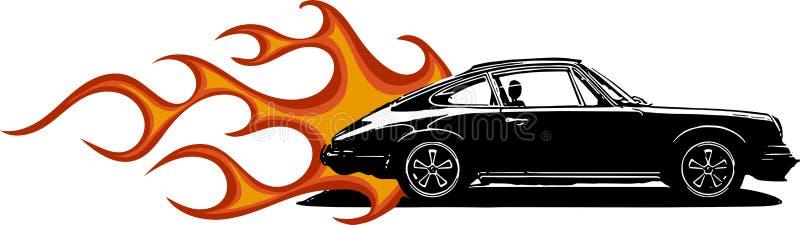 Vector las siluetas clásicas europeas del coche de deportes, esquemas, contornos Su insignia stock de ilustración