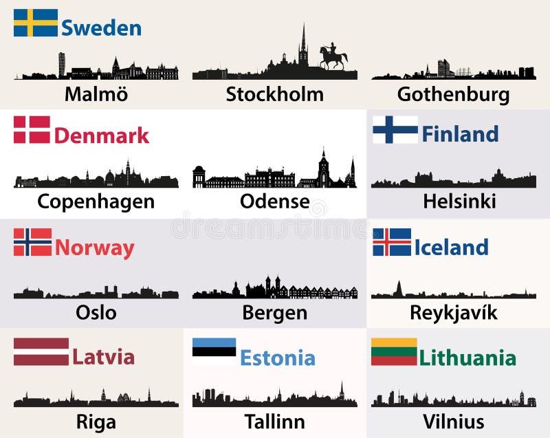 Vector las siluetas de los horizontes de las ciudades de países escandinavos y noreuropeos ilustración del vector