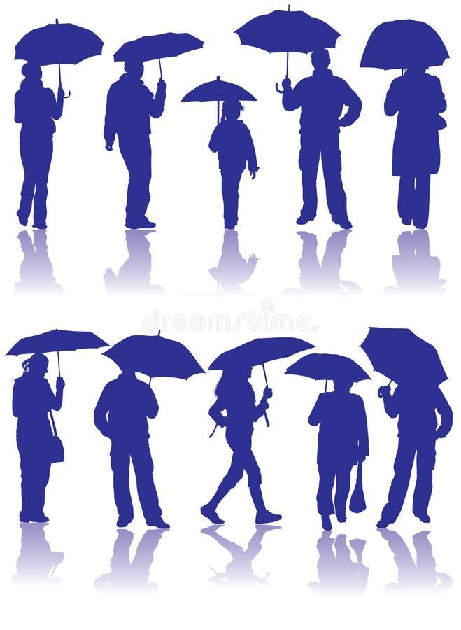 Vector las siluetas hombre, mujeres y niño con el paraguas libre illustration