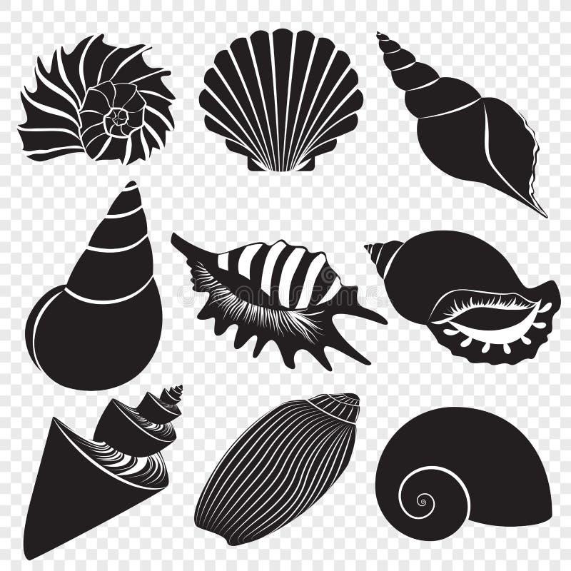 Vector las siluetas negras de las cáscaras del mar aisladas en el fondo transperant alfa libre illustration