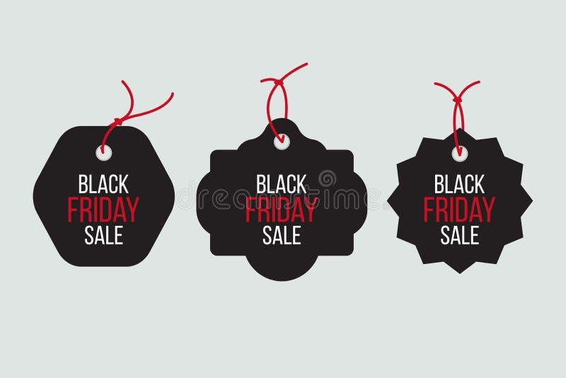 Vector las ventas negras de viernes marcan con etiqueta y las banderas fijadas stock de ilustración