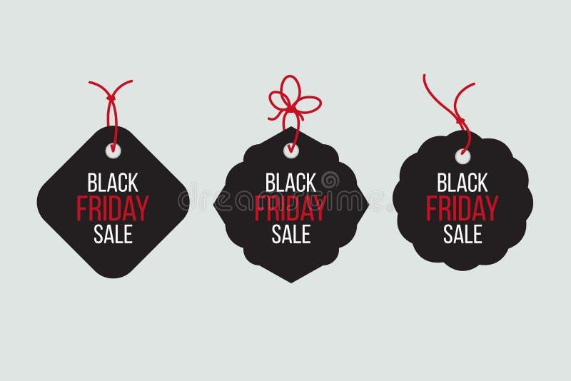 Vector las ventas negras de viernes marcan con etiqueta y las banderas fijadas libre illustration