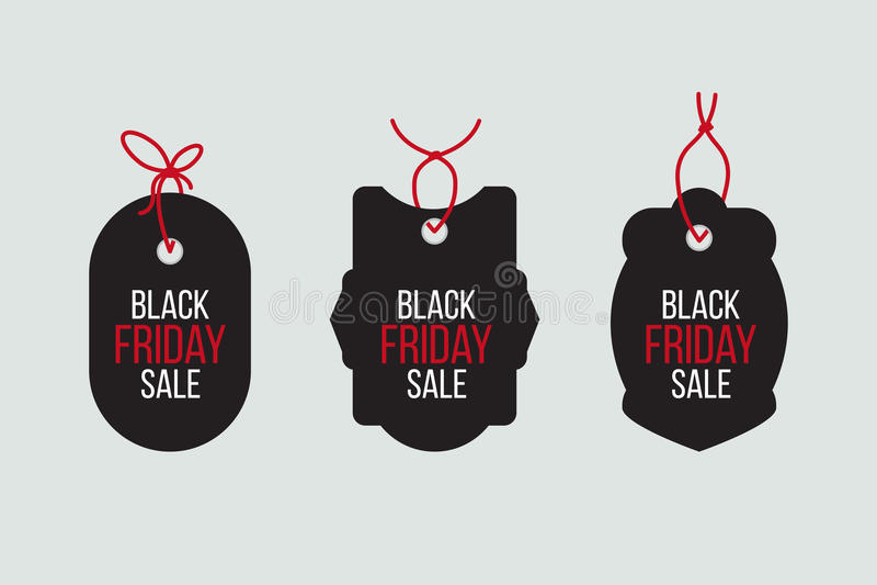 Vector las ventas negras de viernes marcan con etiqueta y las banderas fijadas ilustración del vector