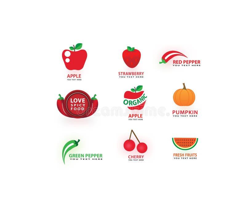 Vector las verduras y da fruto los iconos fijados, amor, cocinando símbolos, sistema de etiqueta de la comida ilustración del vector