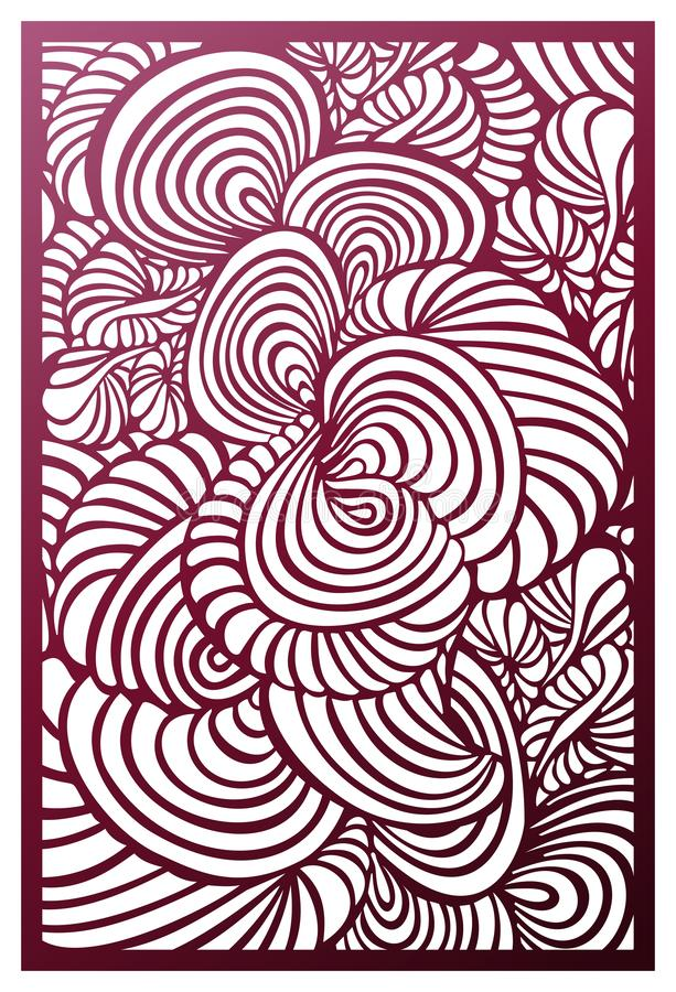Vector Laser cut panel. Abstract fantastic hypnotic pattern template for decorative panel. Template for interior design, layouts. Vector Laser cut panel vector illustration