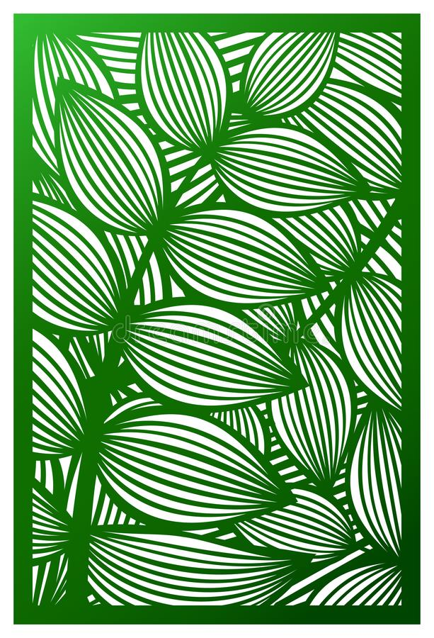 Vector Laser cut panel. Cutout silhouette with botanical pattern vector illustration