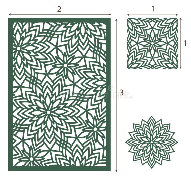 Vector Laser cut panel, the seamless pattern for decorative pane royalty free illustration