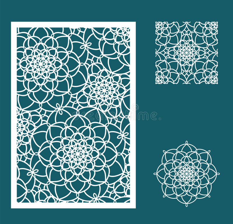 Vector Laser cut panel, the seamless pattern for decorative pane stock illustration