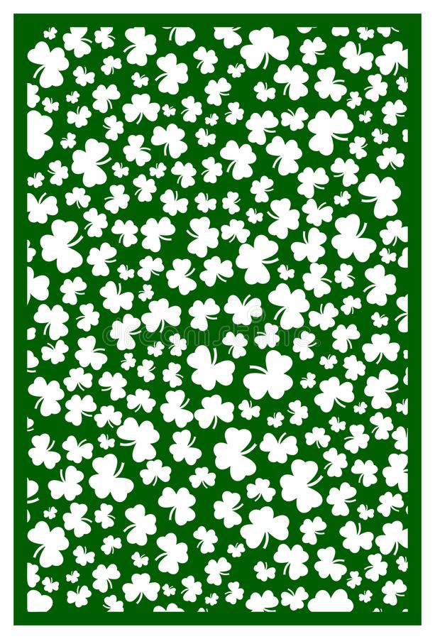Vector Laser Cut St. Patrick`s Day Template With Shamrock. Abstr ...