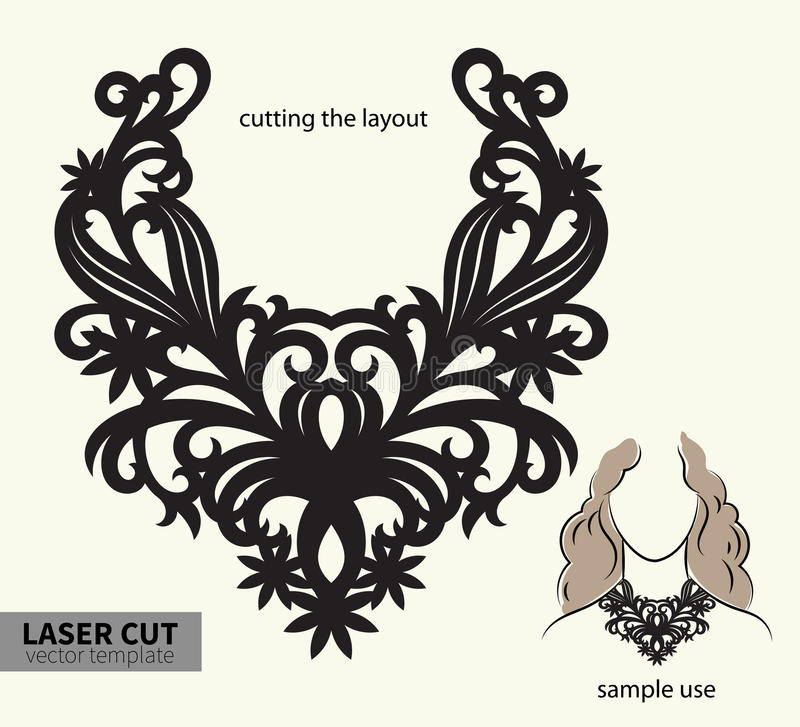 Vector laser cutting necklace. royalty free illustration