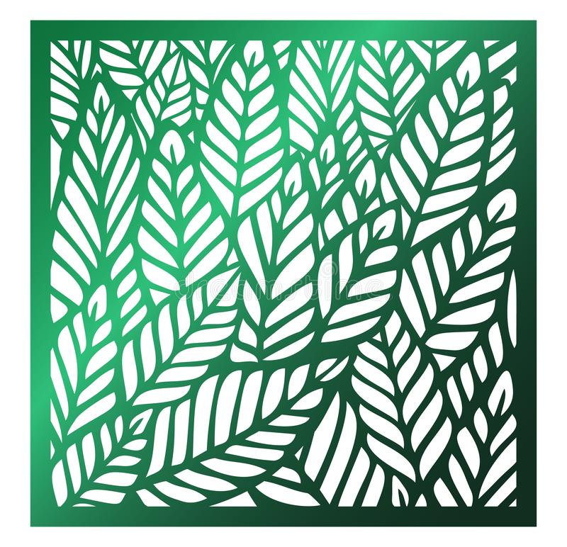 Vector Laser square cut panel. Abstract Pattern with leaves template for decorative panel. Template for interior design, layouts royalty free illustration