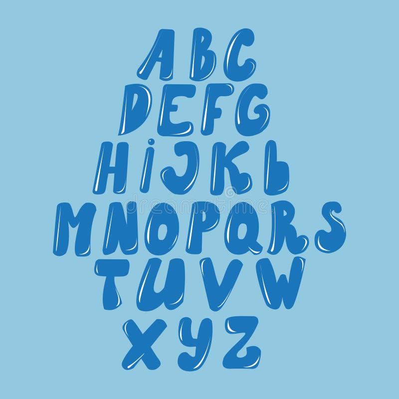 Vector Latijns die alfabet van karamel, vloeistof wordt gemaakt Doopvontstijl stock illustratie