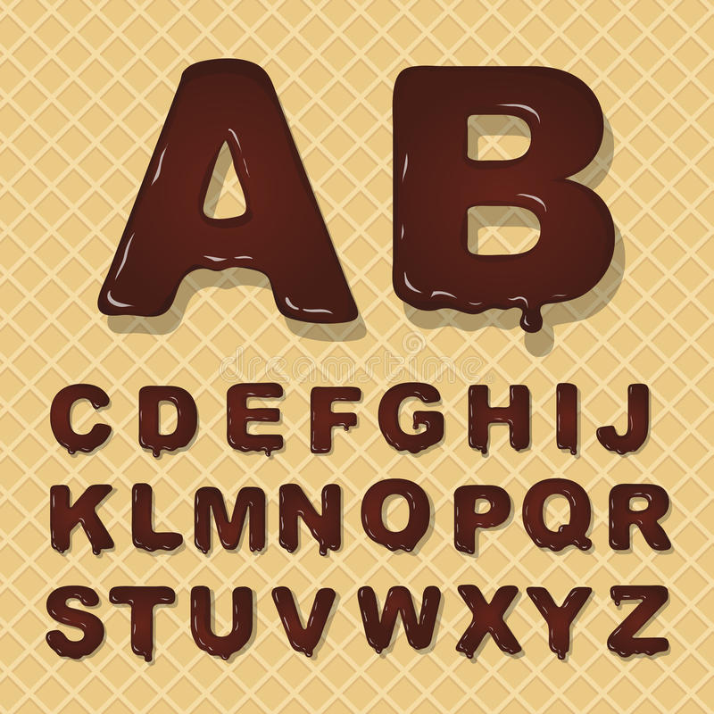 Vector latin capital alphabet made of chocolate. Font style. vector illustration