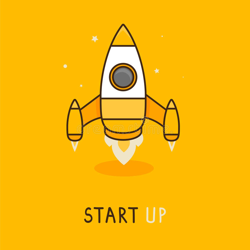 Vector launch icon in flat style - space rocket stock illustration