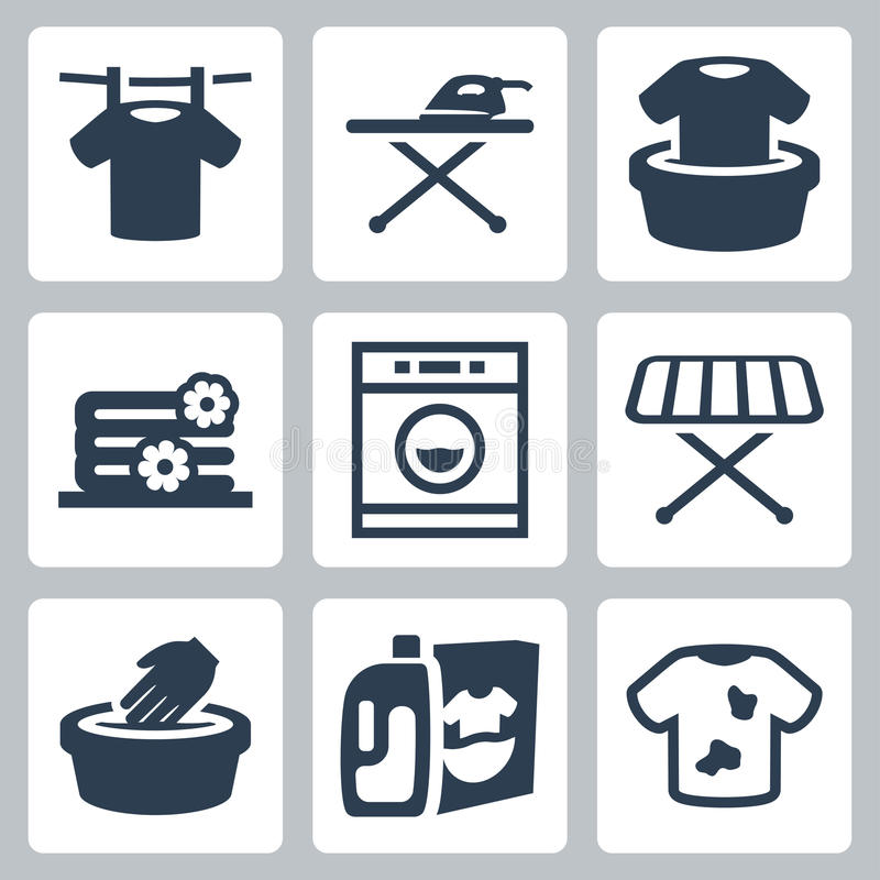 Vector laundry icons set. Vector isolated laundry icons set vector illustration