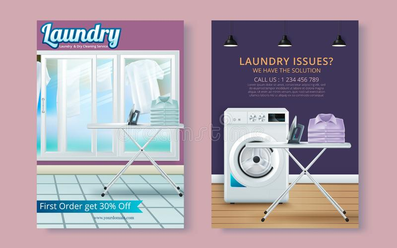 Vector Laundry Service Flyer Magazine Cover, Poster Template vector illustration