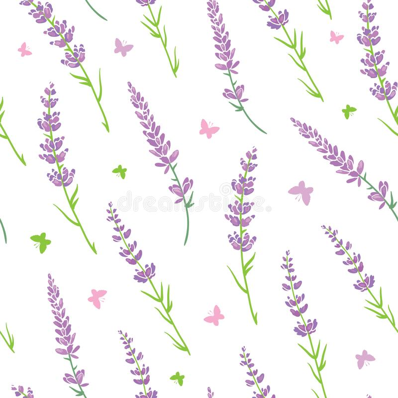 Free Vector Lavender Flowers Purple Green Silhouettes Seamless Pattern. Beautiful Violet Lavender Retro Background. Elegant Royalty Free Stock Photos - 113185868
