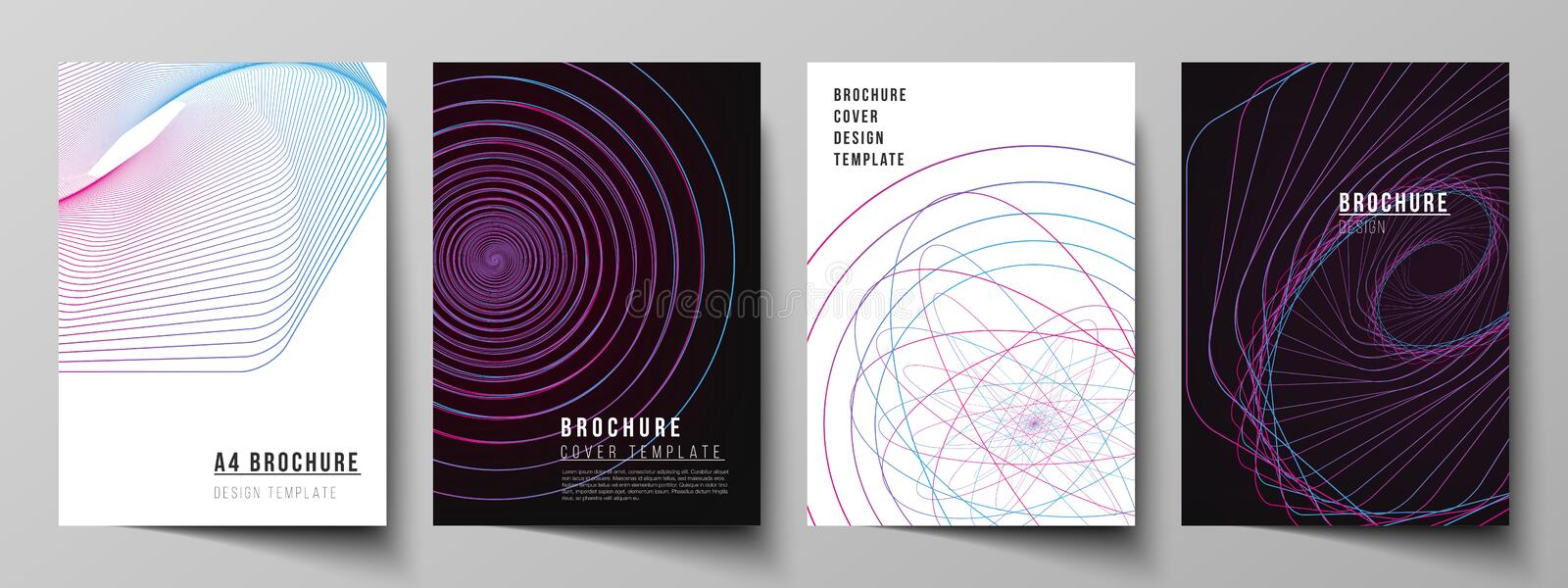 Vector layout of A4 format cover mockups design templates for brochure, flyer, booklet, report. Random chaotic lines. That creat real shapes. Chaos pattern stock illustration
