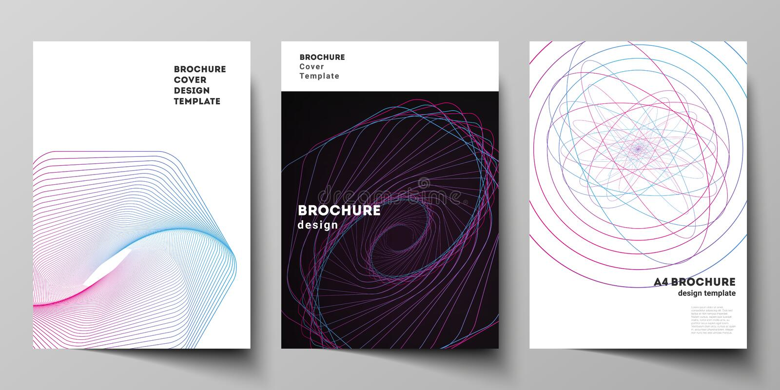 Vector layout of A4 format cover mockups design templates for brochure, flyer, booklet, report. Random chaotic lines. That creat real shapes. Chaos pattern royalty free illustration