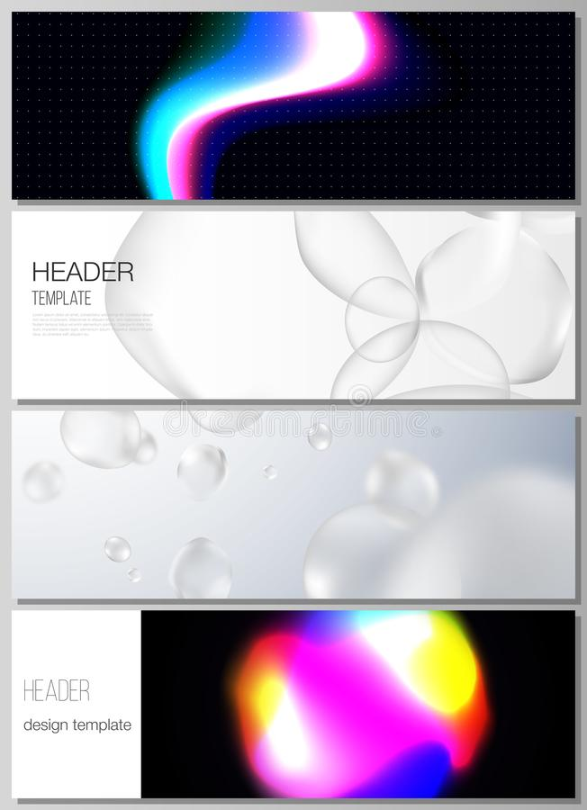 The vector layout of headers, banner design templates. SPA and healthcare design, sci-fi technology background. Abstract royalty free illustration