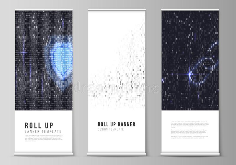 The vector layout of roll up banner stands, vertical flyers, flags design business templates. Binary code background. AI. Big data, coding or hacker concept stock illustration