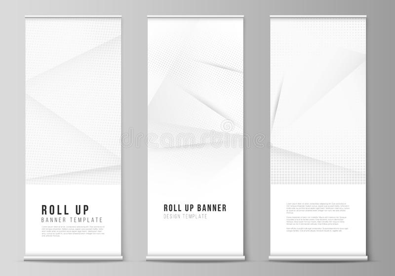 Vector layout of roll up mockup design templates for vertical flyers, flags design templates, banner stands, advertising royalty free illustration