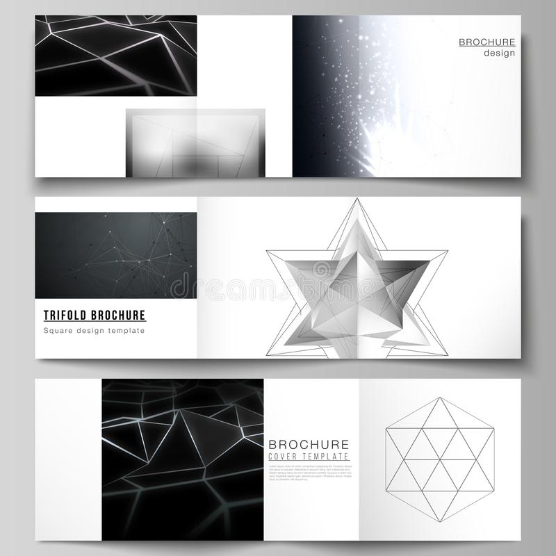 Vector layout of square format covers design templates for trifold brochure, flyer, magazine. 3d polygonal geometric. Modern design abstract background. Science stock illustration