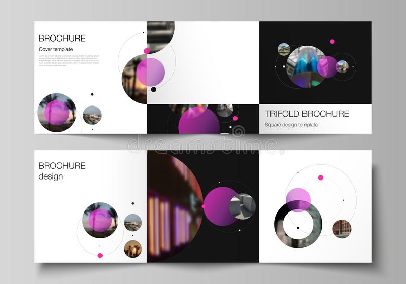 Vector layout of square format covers design templates for trifold brochure, flyer. Simple design futuristic concept. Creative background with pink circles and royalty free illustration