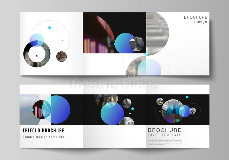 Vector layout of square format covers design templates for trifold brochure, flyer. Simple design futuristic concept. Creative background with blue circles and stock illustration