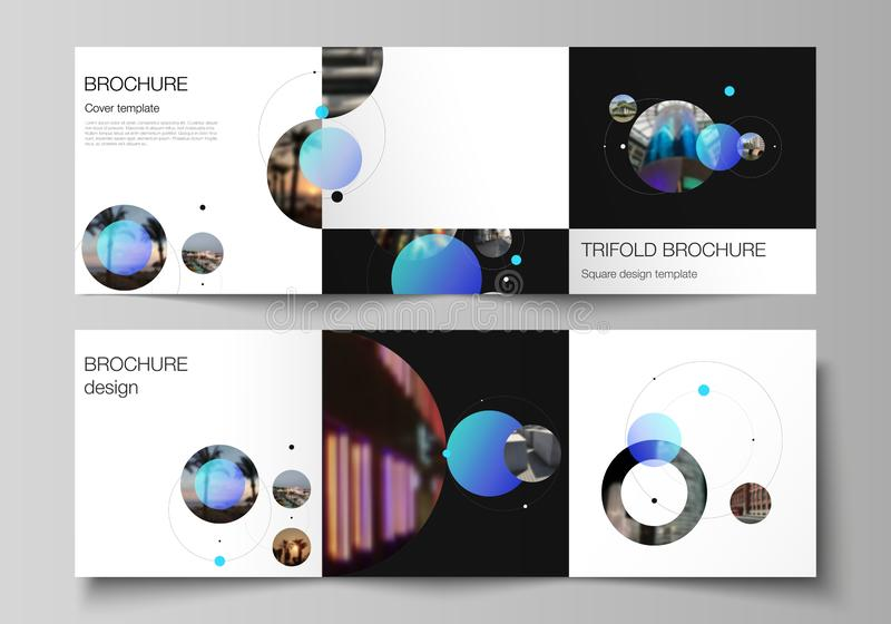 Vector layout of square format covers design templates for trifold brochure, flyer. Simple design futuristic concept. Creative background with blue circles and vector illustration