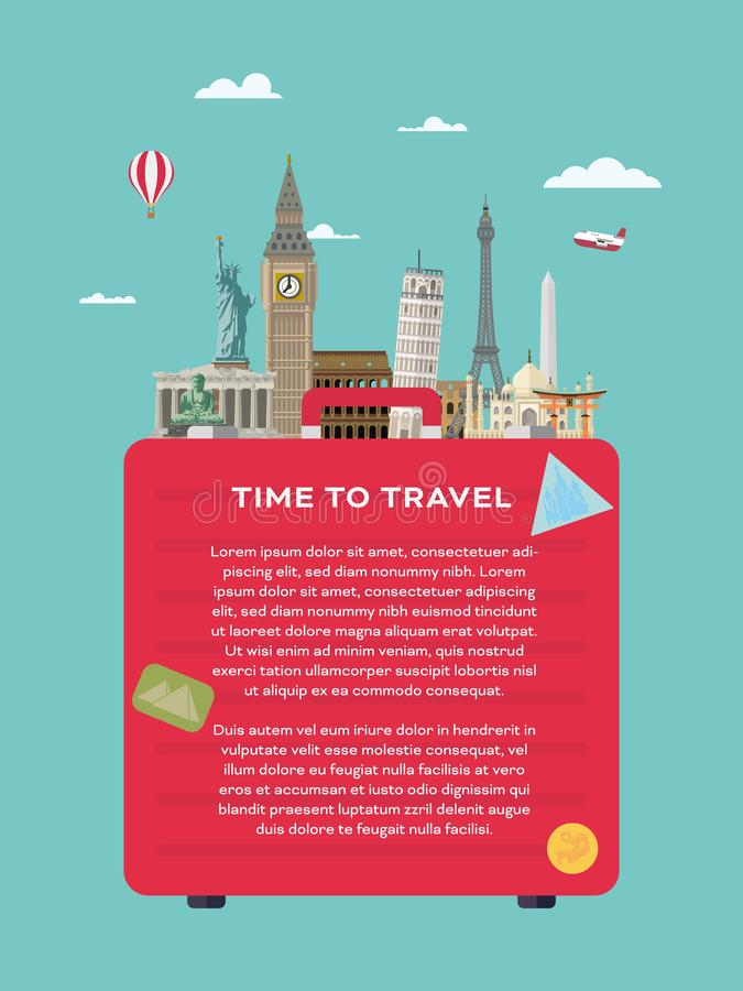 World travel vector layout template with international landmarks stock illustration