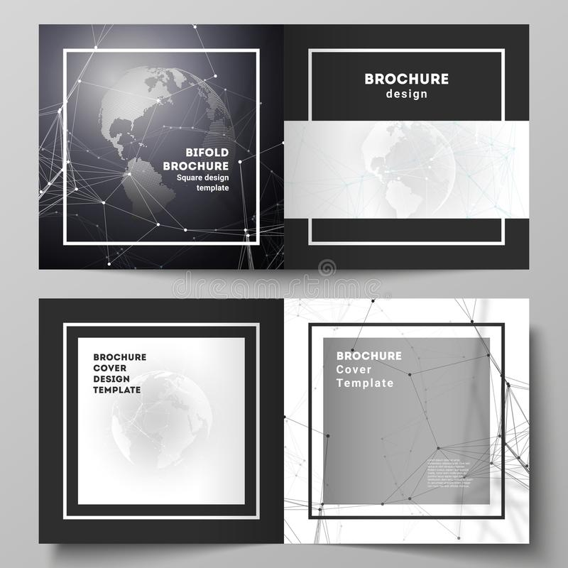Vector layout of two covers templates for square design bifold brochure, flyer. Futuristic geometric design with world royalty free illustration