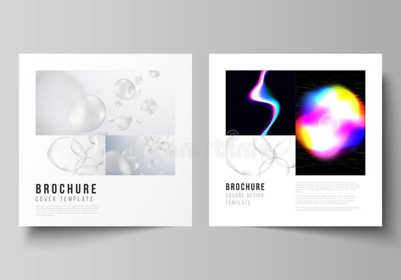 Vector layout of two square format covers design templates for brochure, flyer, magazine. SPA and healthcare design, sci vector illustration